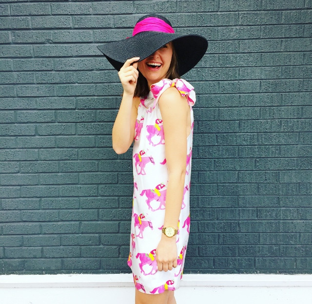 Derby Style Caroline Bow Dress Pink via Sarah Sofia Productions