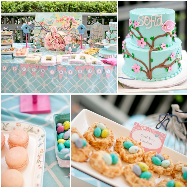 Cherry Blossom and Birds Themed Party Using Bird Nest Cookies via Sarah Sofia Productions
