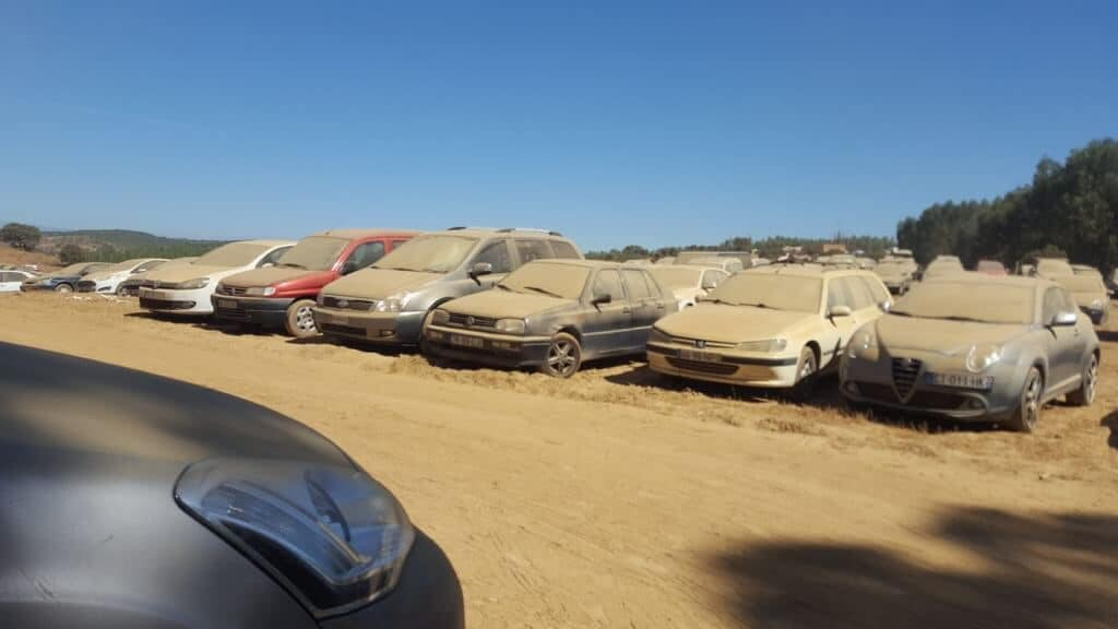 Dusty Cars in the Portuguese Desert