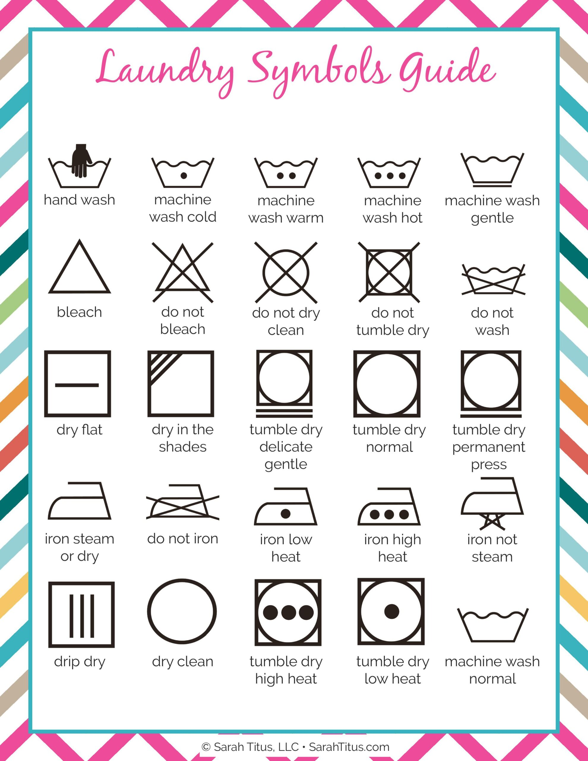 Cleaning Binder Laundry Symbols Guide