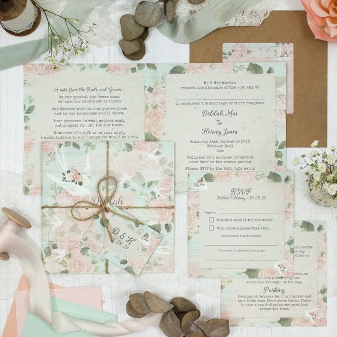 Dancing Swallows Wedding Invitation Sample Sarah Wants Stationery
