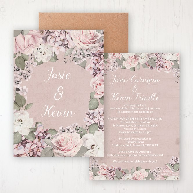 Dusty Rose Garden Wedding Invitations Sarah Wants Stationery