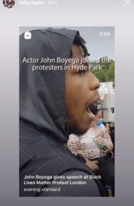 Toby Regbo: e BLM! From @tobyregbo Instagram Story - John Boyega (attore) - Protesta BLM a Londra