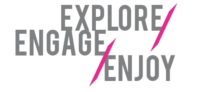 Explore Engage Enjoy - Sarasota Art Museum logo with taches