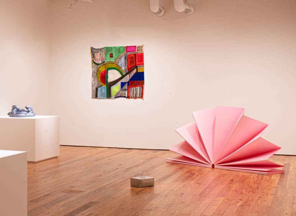 Ken Price's Eek (2008), Jaime Scholnick's Disintegration (2019), and Tony Feher's Blossom (2009) and Untitled (1993)