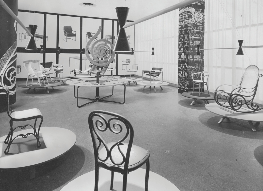 View of MoMA's exhibition, Thonet Furniture (August 11 – October 4, 1953), Photograph by Alexandre Georges, Source: The Museum of Modern Art Archives, New York