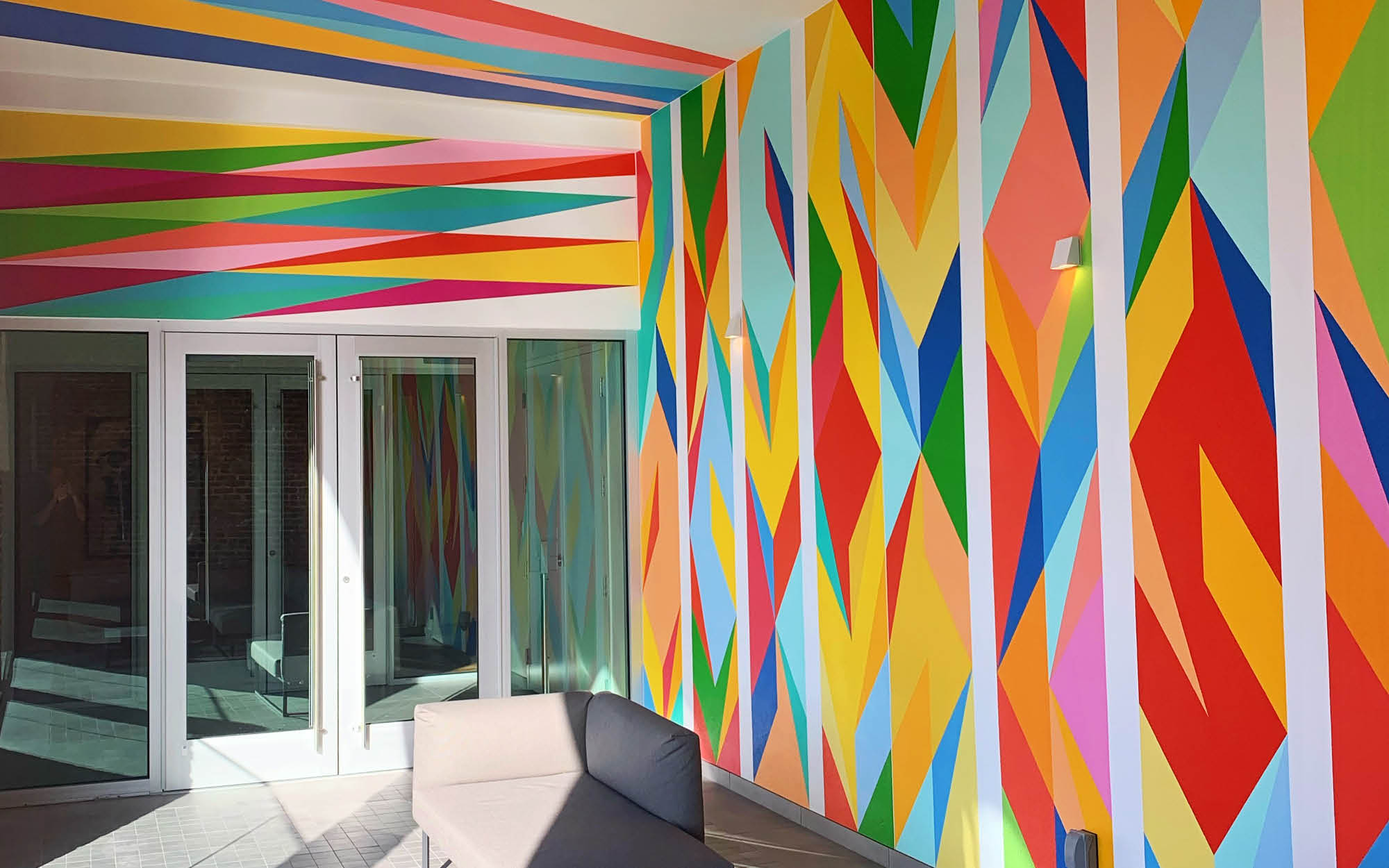 """Odili Donald Odita's """"Force Field"""" is a a site specific installation for Sarasota Art Museum"""