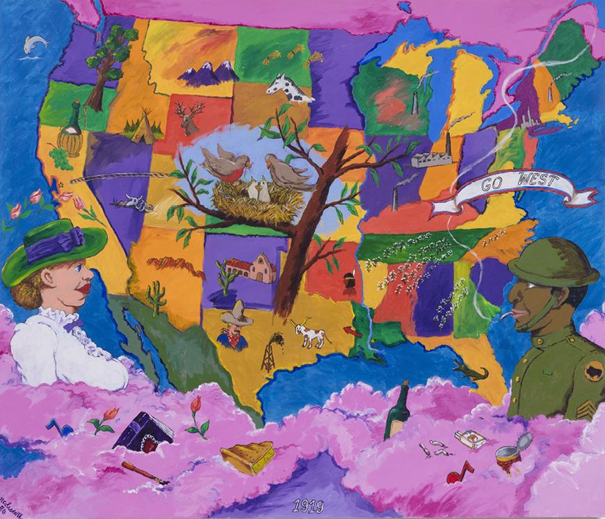 Robert Colescott, 1919, 1980, Acrylic on canvas, © 2021 The Robert H. Colescott Separate Property Trust / Artists Rights Society (ARS), New York, Courtesy of The Robert H. Colescott Separate Property Trust and Blum & Poe, Los Angeles/New York/Tokyo