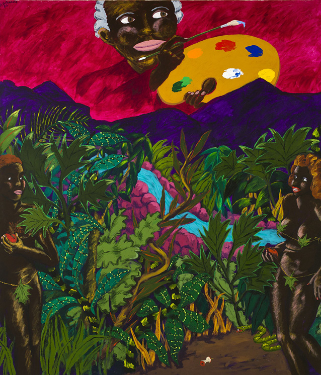 Robert Colescott, A Legend Dimly Told, 1982, Acrylic on canvas, © 2021 The Robert H. Colescott Separate Property Trust / Artists Rights Society (ARS), New York, Courtesy of The Robert H. Colescott Separate Property Trust and Blum & Poe, Los Angeles/New York/Tokyo