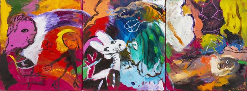 Robert Colescott, Alas, Jandava, 1998, Acrylic on canvas, © 2021 The Robert H. Colescott Separate Property Trust / Artists Rights Society (ARS), New York, Collection of Jandava Cattron