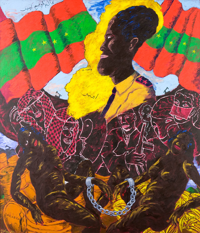 Robert Colescott, Arabs: The Emir of Iswid (How Wide the Gulf?), 1992, Acrylic on canvas, © 2021 The Robert H. Colescott Separate Property Trust / Artists Rights Society (ARS), New York, Rubell Family Collection