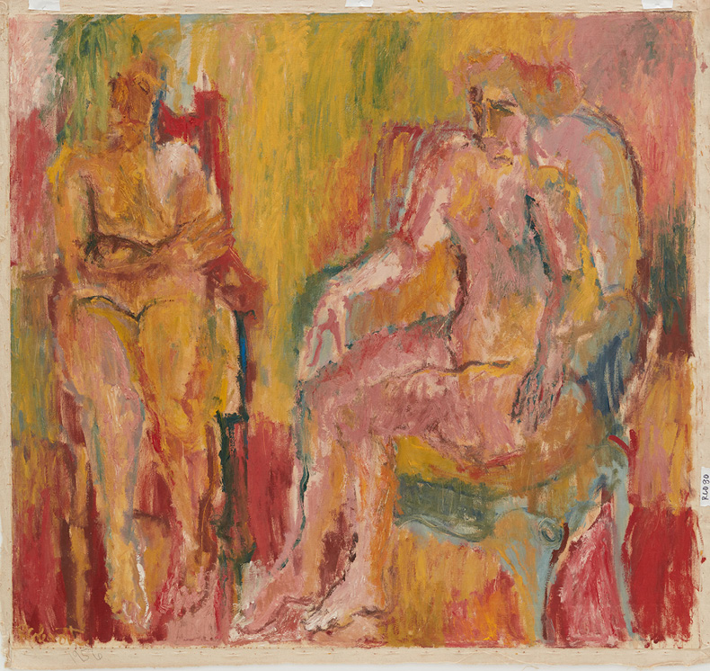Aussi Assis, 1955-1956, Oil on canvas, © 2021 The Robert H. Colescott Separate Property Trust / Artists Rights Society (ARS), New York, Courtesy of The Robert H. Colescott Separate Property Trust and Blum & Poe, Los Angeles/New York/Tokyo