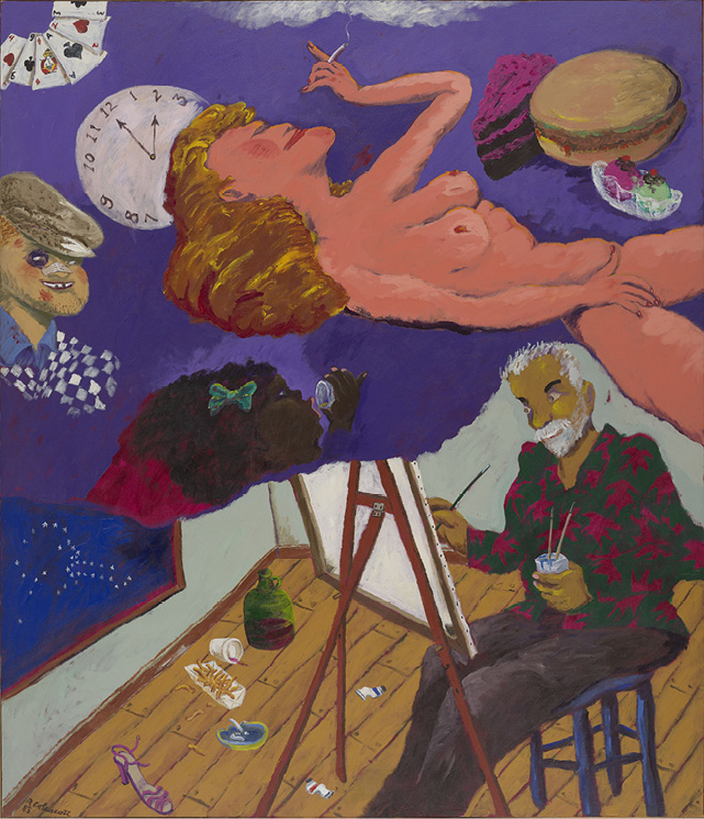 Robert Colescott, Bad Habits, 1983, Acrylic on canvas, © 2021 The Robert H. Colescott Separate Property Trust / Artists Rights Society (ARS), New York, Portland Art Museum, Portland, Oregon, Gift of Douglas and Lila Goodman, © 1983 Robert Colescott, 2001.90.9