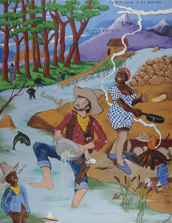 Robert Colescott, Cactus Jack in El Dorado, 1977, Acrylic on canvas, © 2021 The Robert H. Colescott Separate Property Trust / Artists Rights Society (ARS), New York, Collection of Newark Museum, Gift of Gregory A. Lunt, 1988