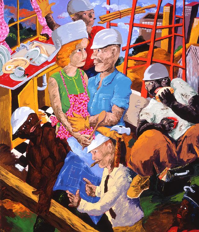 Robert Colescott, Hard Hats, 1987, Acrylic on canvas, © 2021 The Robert H. Colescott Separate Property Trust / Artists Rights Society (ARS), New York, Milwaukee Art Museum, Wisconsin, Gift of Judith and Howard Tullman