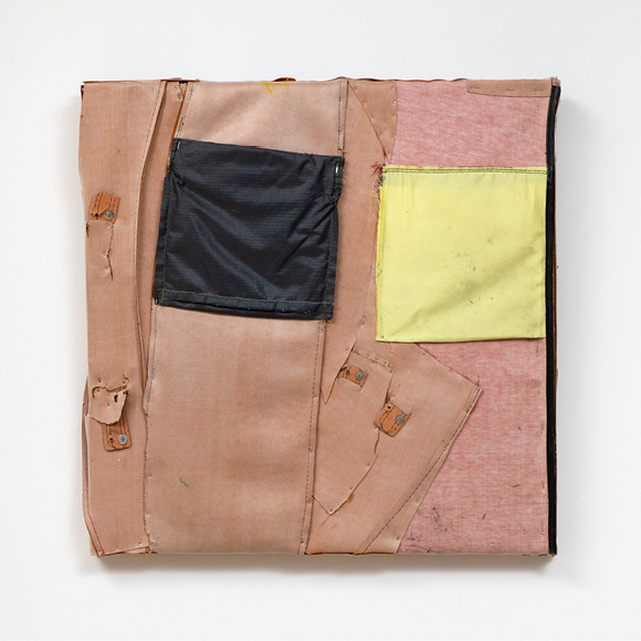 Charles McGill, Night and Day, 2012, Reconfigured golf bags, 24 x 24 in., Courtesy of the Estate of Charles McGill