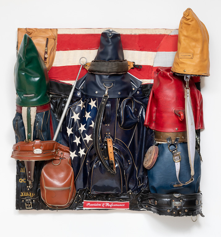 Charles McGill, Patriot, 2012, Reconfigured golf bags, 48 x 48 x 15 in., Courtesy of the Estate of Charles McGill