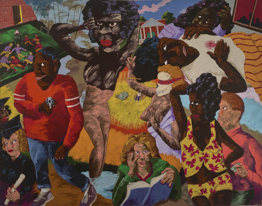 Robert Colescott, School Days, 1988, Acrylic on canvas,© 2021 The Robert H. Colescott Separate Property Trust / Artists Rights Society (ARS), New York, Denver Art Museum Collection: Funds from NBT Foundation 1991.56