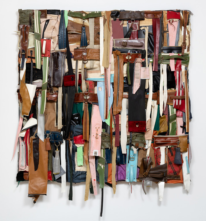 Charles McGill, Shredded Quilt II, 2016, Reconfigured golf bag parts on panel, 72 x 72 x 6 in., Courtesy of the Estate of Charles McGill