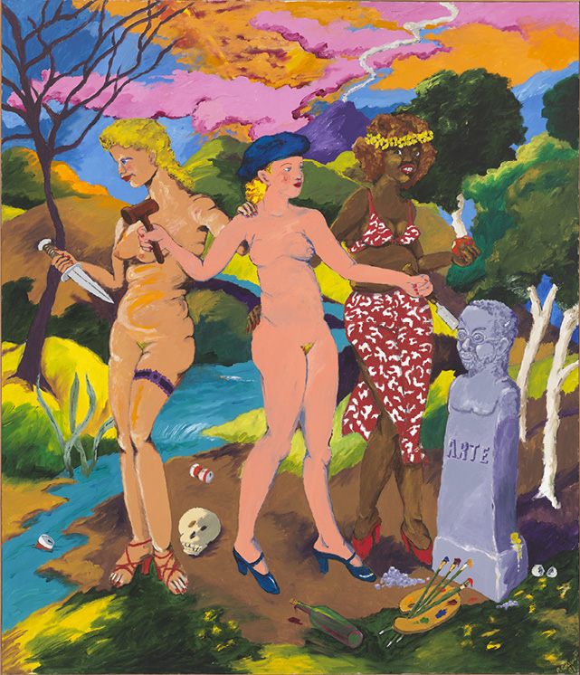 Robert Colescott, The Three Graces: Art, Sex and Death, 1981, Acrylic on canvas, © 2021 The Robert H. Colescott Separate Property Trust / Artists Rights Society (ARS), New York, Whitney Museum of American Art