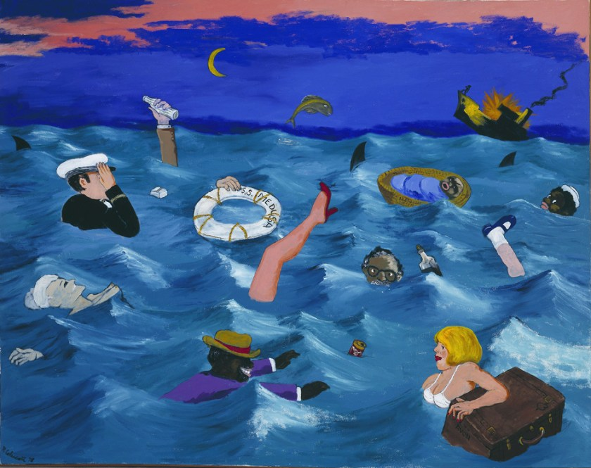 Robert Colescott, The Wreckage of the Medusa, 1978, Acrylic on canvas, © 2021 The Robert H. Colescott Separate Property Trust / Artists Rights Society (ARS), New York, Collection of Joyce Cooper (Estate of Jay Cooper); Phoenix, AZ; Courtesy of George Adams Gallery, NYC