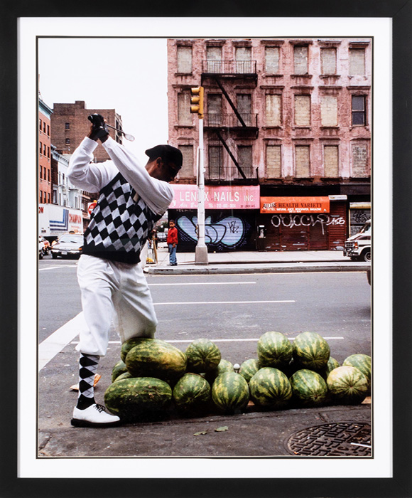 """Charles McGill, Watermelon Patch, Harlem (""""Playing Through"""" series), 2001,Color photograph, 39.5 x 31.5 in., Courtesy of the Estate of Charles McGill"""