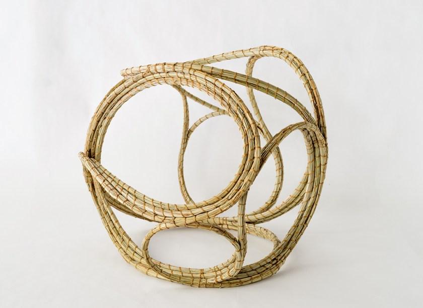 Aranda\Lasch + Terrol Dew Johnson, Grass Coil 01, 2016, Bear grass, sinew, steel wire, 13 x 16 x 16 in., Courtesy of the artists