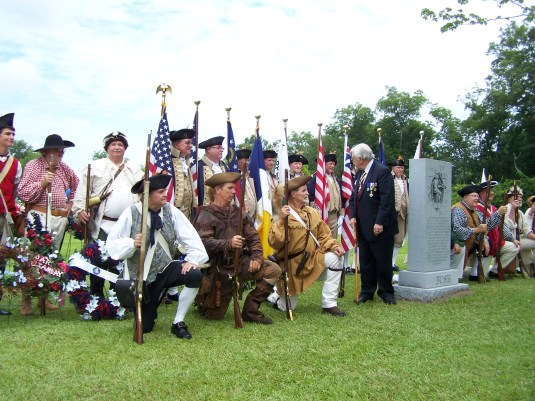 Color Guard and patriots at dedication of the Bushnell memorial