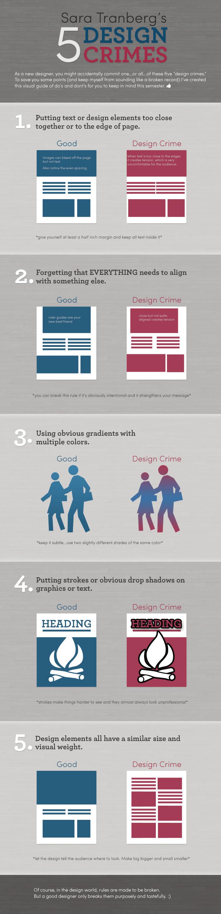 5 Design Crimes infographic