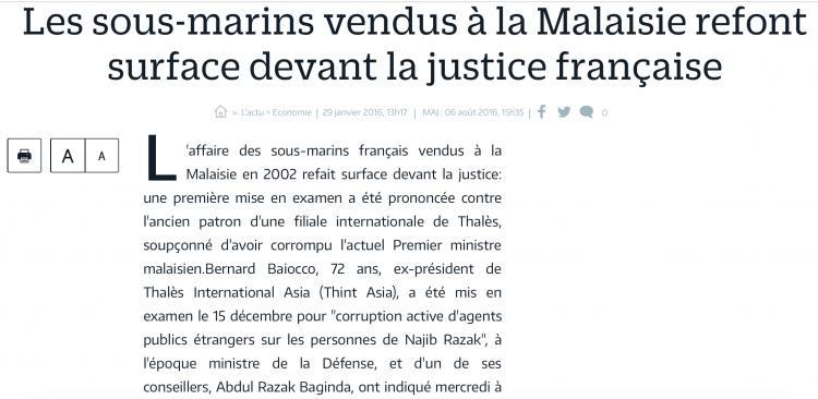 Suspected of bribing Najib over Scorpene... French court investigation