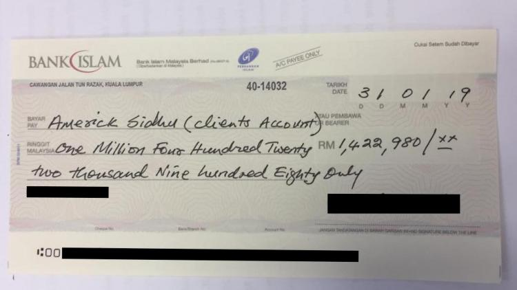 The cheque that was placed in escrow with SR's KL lawyer on condition that the Hadi case was allowed to be discontinued in the UK