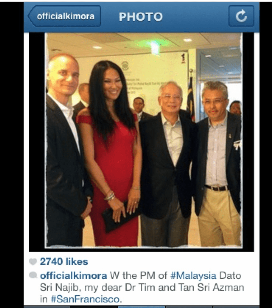 Goldman Sachs Asia's Tim Leissner (left) and model wife, who is a 'dear friend' of  Najib Razak's (second right) wife Rosmah