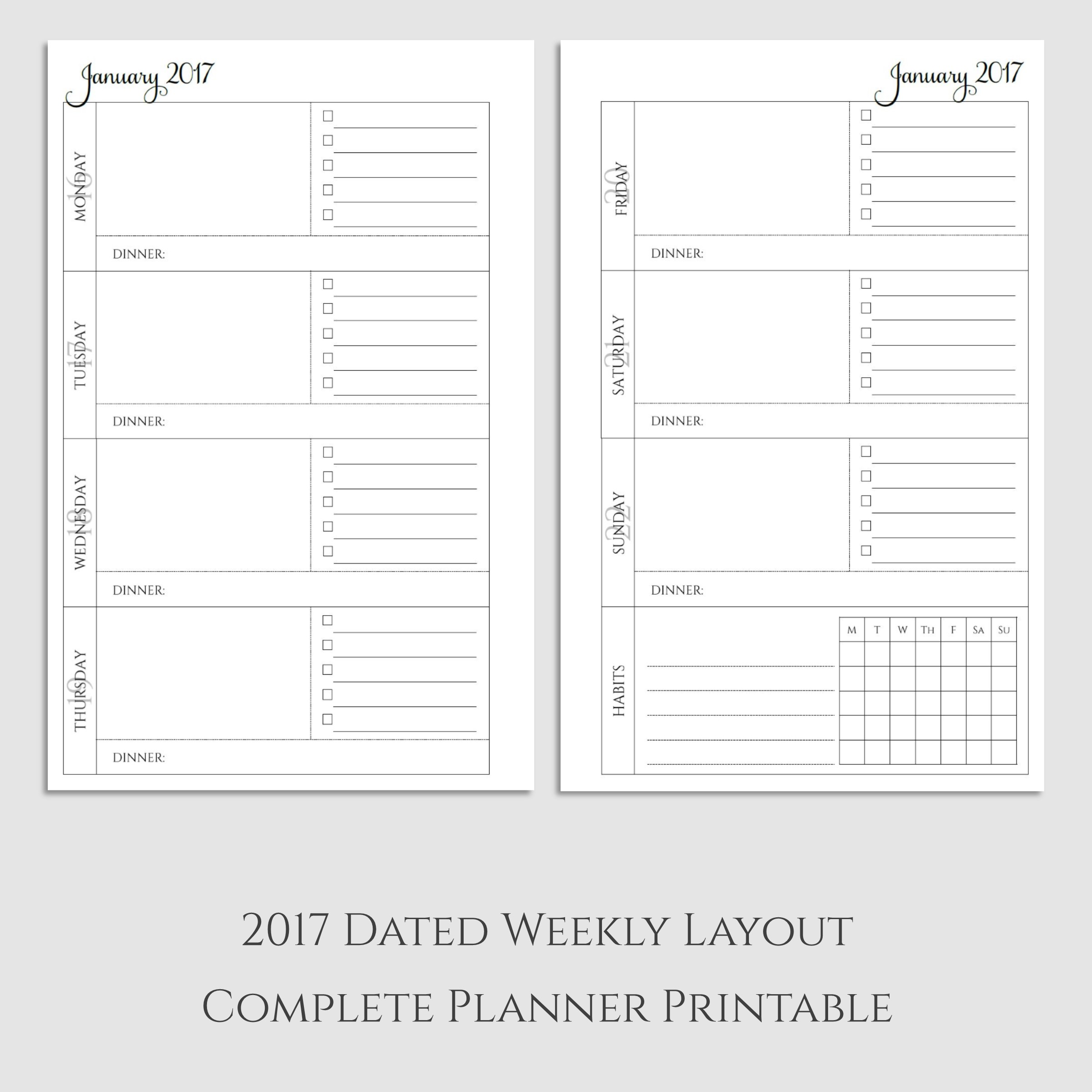 Complete Weekly Planner Printable With Dinner Amp Habit