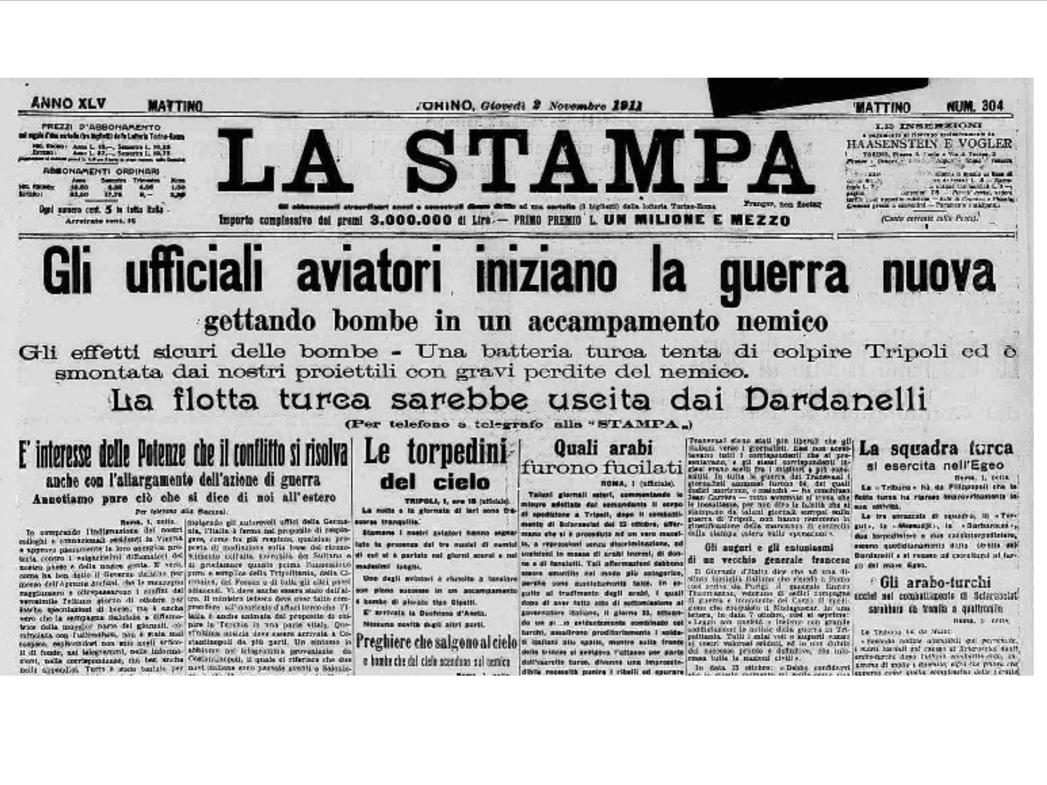 1 novembre 1911: gli italiani brava gente compiono il primo bombardamento aereo della storia. (Di Francesco Giorgioni)