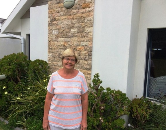 Jane Robertson pictured in front of her home that she shares with husband Don at the Sardinia Bay Golf & Wildlife Estate
