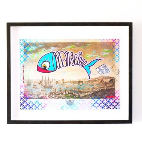 Sardine of Marseille bleue et vieux port