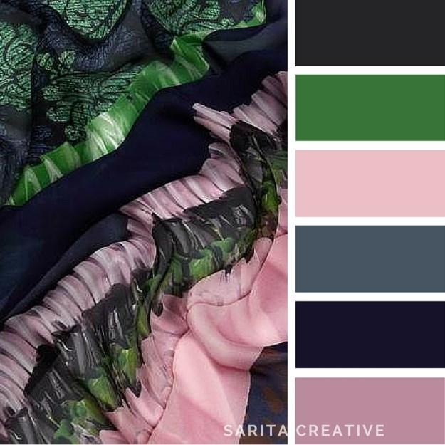 "colour inspiration ""Rich Silks"" indigo and dusky pink"