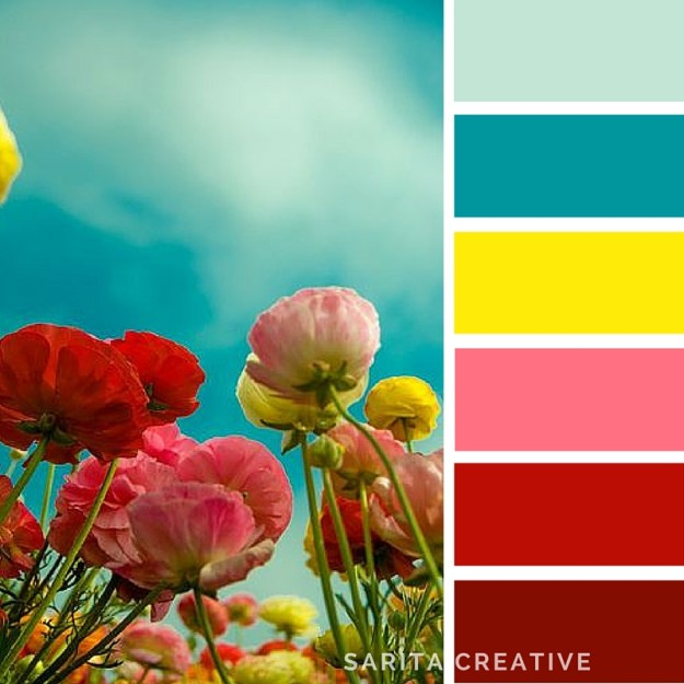 "colour inspiration ""Tall Poppies"" in teals, yellow, pink and deep red"