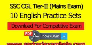 SSC CGL Tier-II (Mains Exam) 10 English Practice Sets Free Download