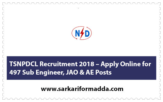 TSNPDCL Recruitment 2018