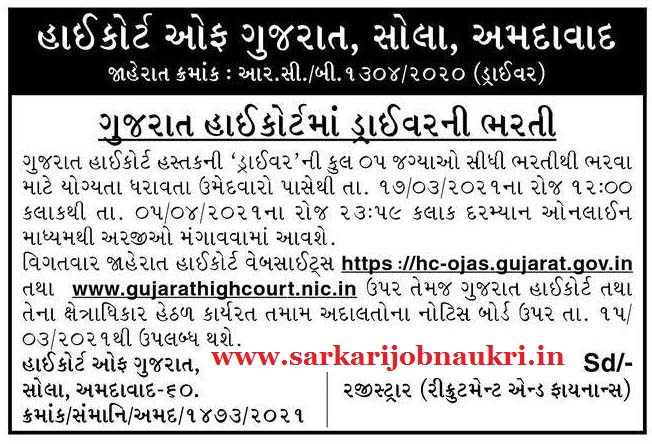 High Court of Gujarat Recruitment 2021 For Driver Post Apply Online