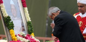 The President, Shri Pranab Mukherjee paying homage at the Samadhi of…