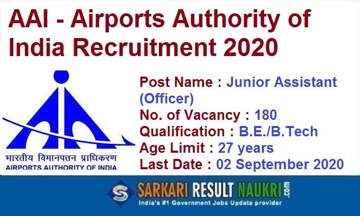 AAI Jr Assistant Recruitment 2020