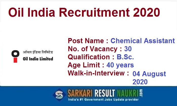 Oil India Chemical Assistant Recruitment 2020