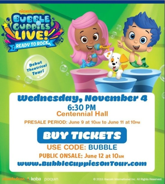 Bubble Guppies Live at Centennial Hall