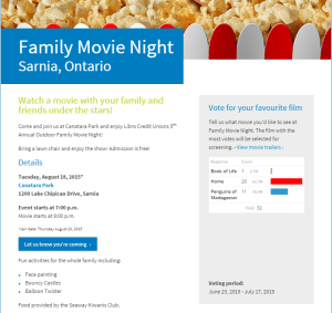 Free Outdoor Family Movie Night 2015 @ Canatara Park | Sarnia | Ontario | Canada