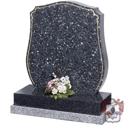 Grey Granite everton shield shaped grave stone
