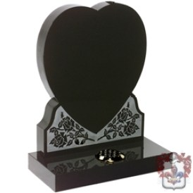 heart and roses granite etched and shaped headstone