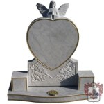Grey marble heart and angel gold edged memorial