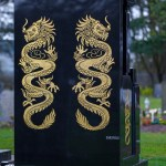 gold dragon on black marble